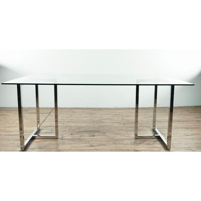 2010s Modern Glass & Chrome Dining Table For Sale - Image 5 of 5