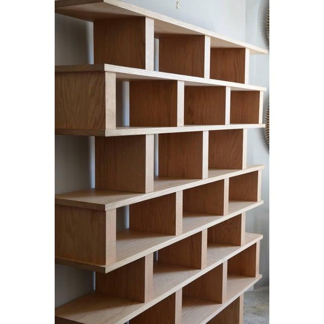 Modern Contemporary Design Frères Verticale Polished Oak Shelving Unit For Sale - Image 3 of 7