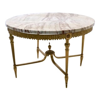 Elegant Marble and Brass Coffee Table, Italy, 1950s