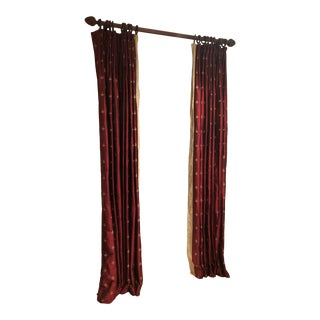 Fleur De Lis Custom Silk Lined Cranberry Curtain Panels - Set of 3 For Sale