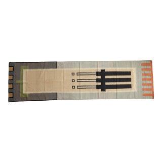 "Vintage Contemporary Kilim Rug Runner - 3'1"" X 11'5"" For Sale"