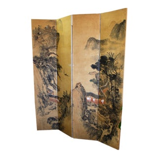 Antique Chinese Watercolor Painting Screen Divider