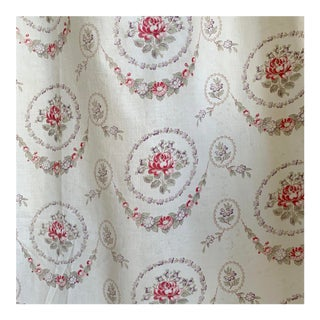 White Vintage French Farmhouse Curtain For Sale