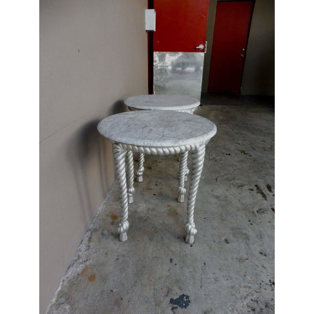 Silver 1970s Vintage Hollywood Regency Style Marble Topped Tables - a Pair For Sale - Image 8 of 9