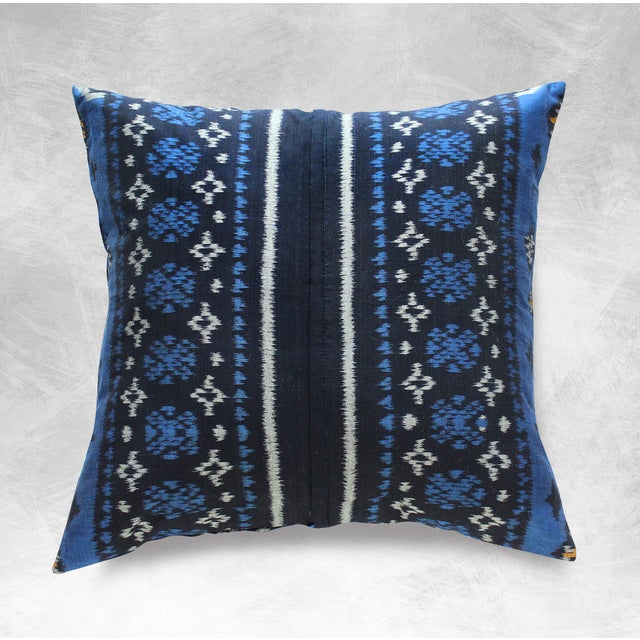 Indigo Handwoven Ikat Pillow From Bali - Image 5 of 6
