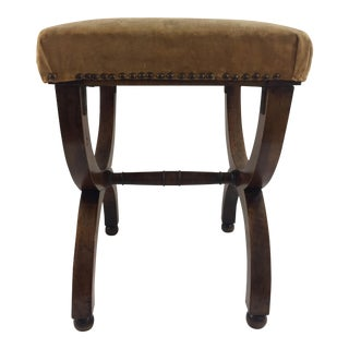 French Charles X Walnut Curule Stool, 1830s