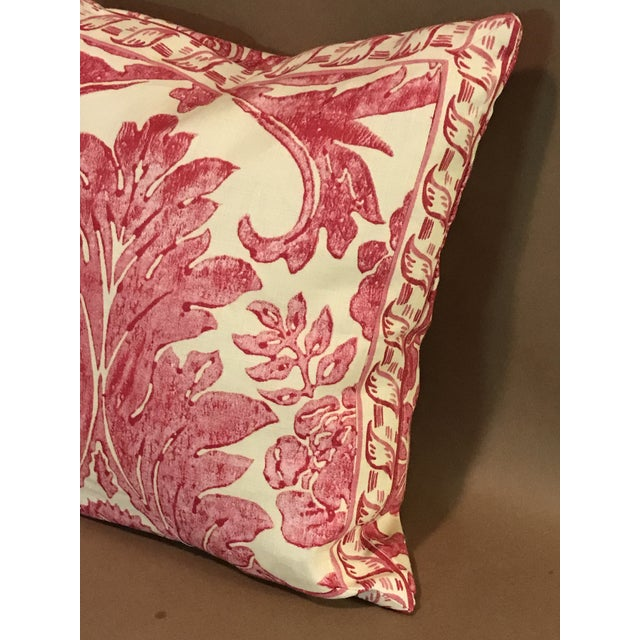 """Scalamandre Rococo Pillow From Scalamandre Linen Print """"Luciana Damask"""" in Raspberry For Sale - Image 4 of 6"""