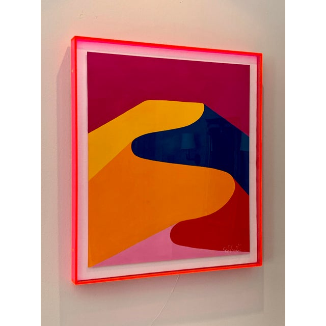 Original painting by Stephanie Henderson in gouache on paper, float mounted on white linen in neon pink edged plexibox...