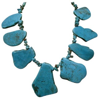Artisan Stone Turquoise Color Howlite Statement Necklace C 1990 For Sale
