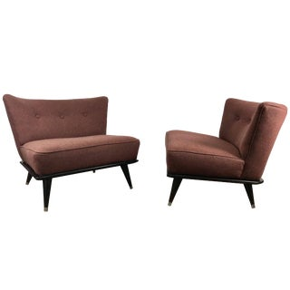 Stunning Modernist Slipper Chairs in the Manner of Gio Ponti - A Pair For Sale