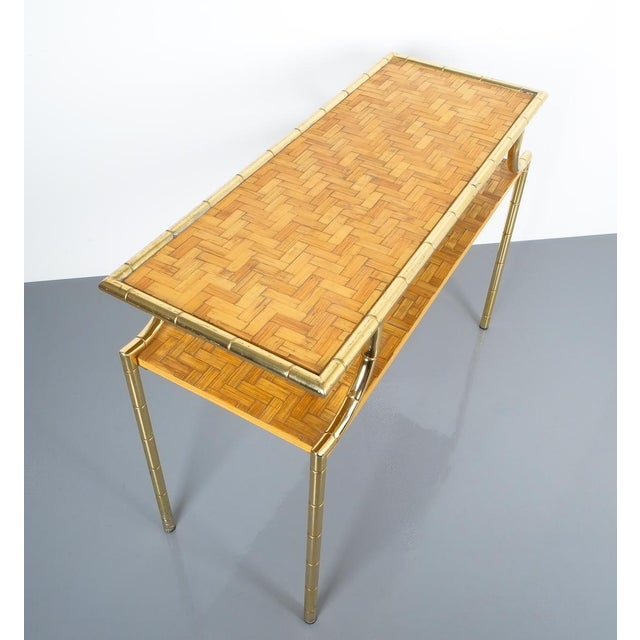 Bamboo Brass Console Table and Mirror, Italy 1950 For Sale - Image 11 of 13