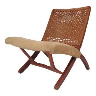 Mid-Century Modern Hans Wegner Style Folding Rope Chair For Sale