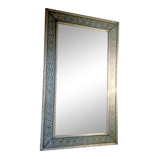 Hand Engraved Brass Mixed Metal Moroccan Mirror For Sale