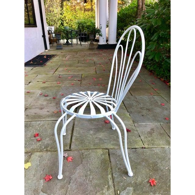White 1930s Vintage Francois Carre White Sunburst Iron Garden Chair For Sale - Image 8 of 12