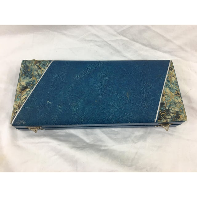 Blue French Art Deco Desk Set For Sale - Image 8 of 11