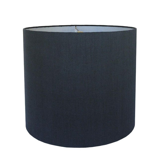 New, Made to Order, Navy Linen, Large Drum Shade - Image 2 of 2