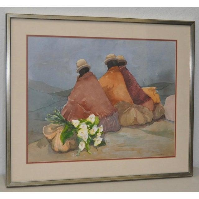 Latin American Women w/ Calla Lilies Original Watercolor by Sabrine A beautiful original watercolor of three Latin...