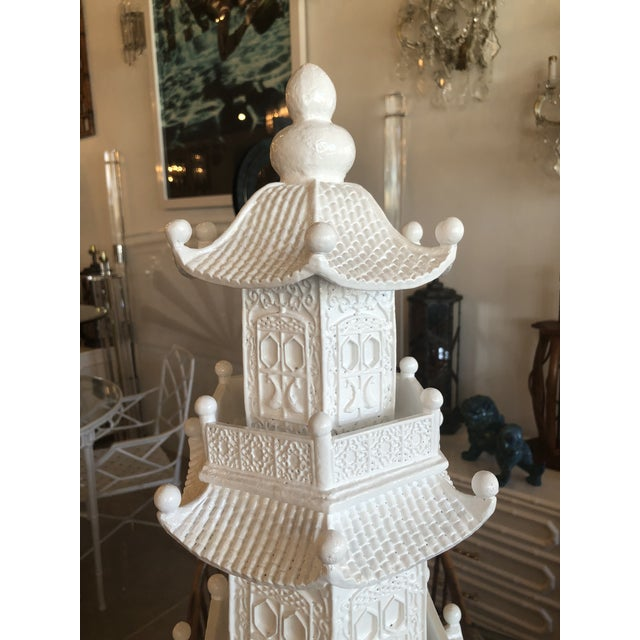 Chinoiserie White Lacquered Pagoda Statue For Sale - Image 4 of 12