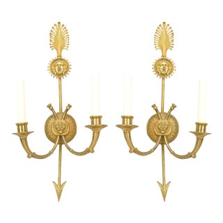 French Empire Style 20th Century Gilt Bronze Two-Arm Wall Sconces - a Pair For Sale