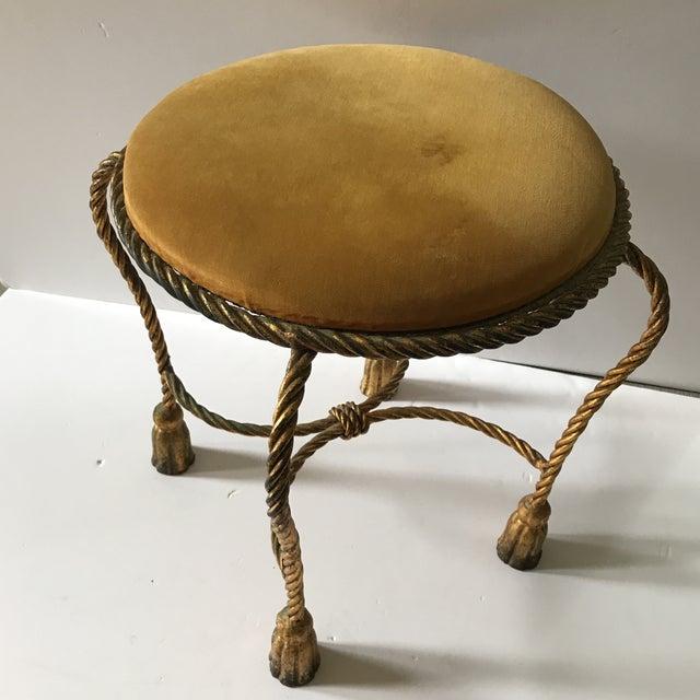 Italian Vintage Italian Gilt Rope & Tassel Mohair Seat Stool For Sale - Image 3 of 5