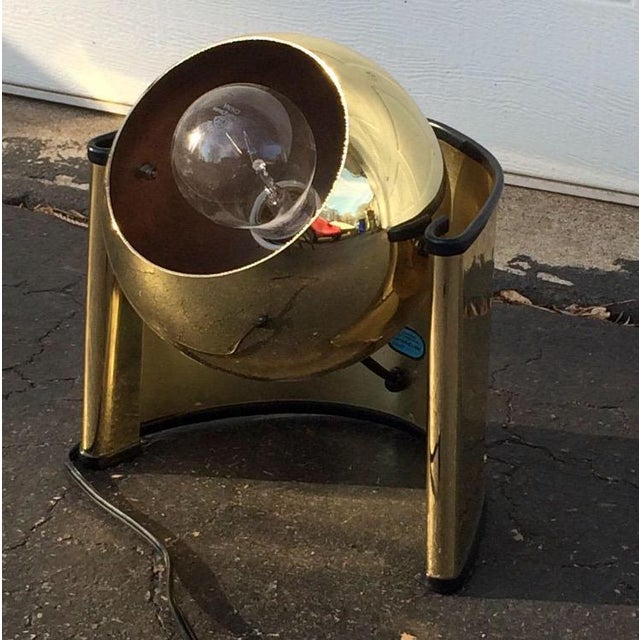 "Mid-Century Brass ""Eyeball"" Spotlight Lamp - Image 4 of 7"