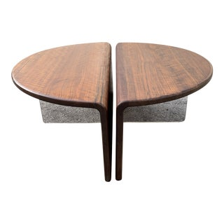 Rare Pair of Gerald McCabe Ovangkol Wood & LuciteTables For Sale