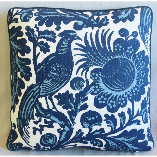 """Custom-tailored pillow in Italian Scalamandre """"Spoleto"""" floral and bird fabric. Blue colored cotton-velvet fabric back...."""