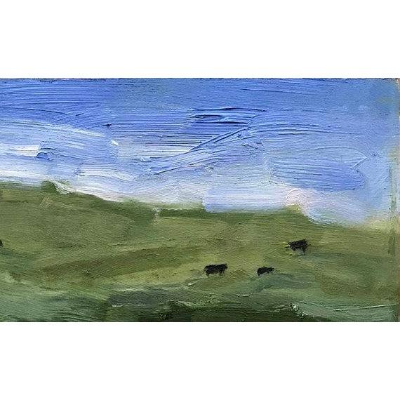 YOLO COUNTY COWS - 6 x 12, Beach Decor, Cows, Cow, Plein Air, California Landscape, Original Oil Painting, Home Decor,...
