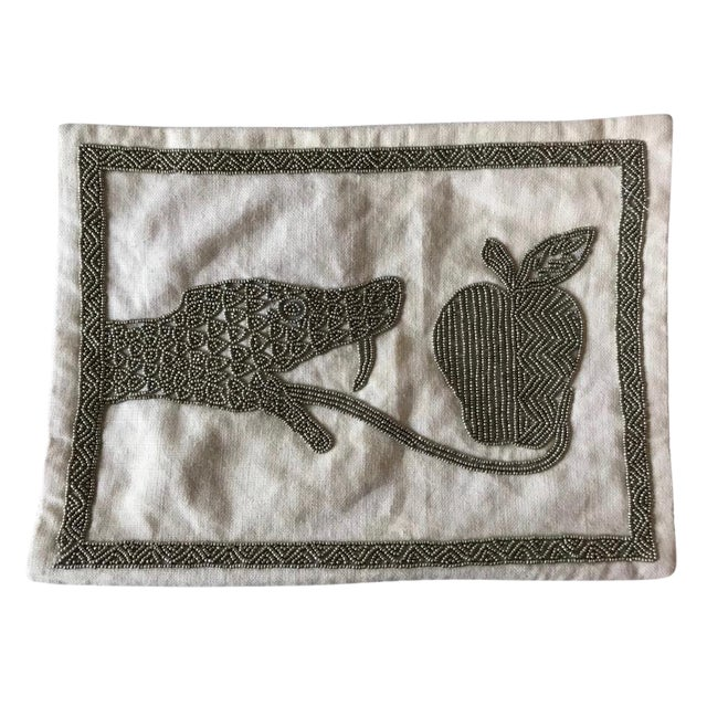 Jonathan Adler Beaded Snake& Apple Pillow - Image 1 of 5