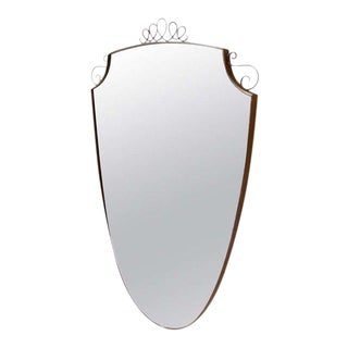Oval Brass Frame Italian Mirror For Sale