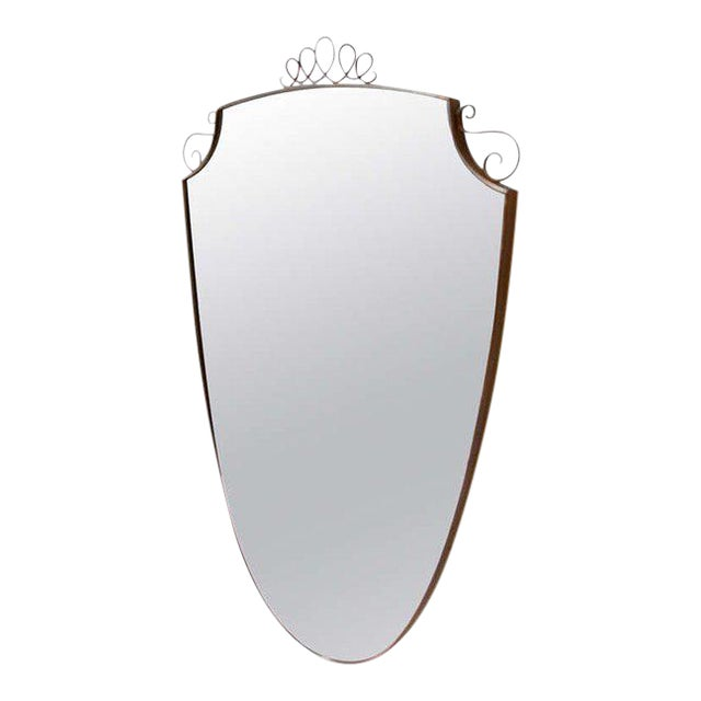 Oval Brass Frame Italian Mirror For Sale