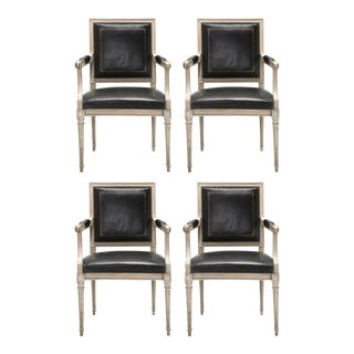 Louis XVI Style Armchairs in Original Paint and Black Leather - Set of 4 For Sale