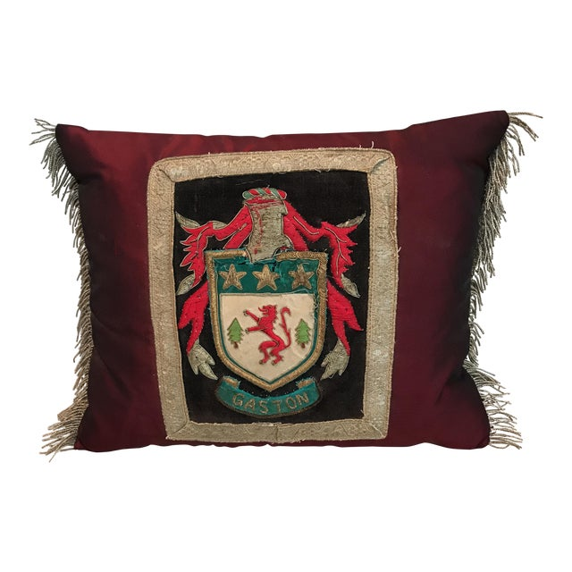 Metallic Appliqué Coat of Arms Custom Pillow - Image 1 of 4