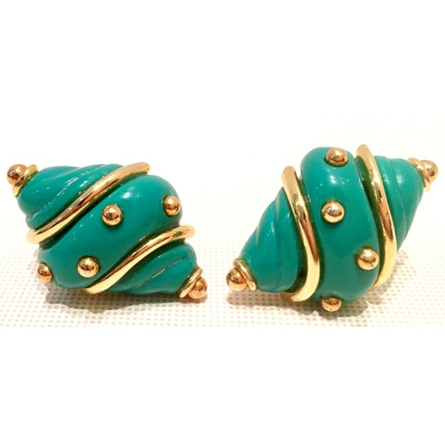 Kenneth Jay Lane 20th Century Kenneth J Lane Gold & Enamel Snail Form Earrings For Sale - Image 4 of 11