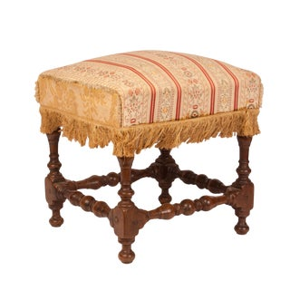 17th Century Baroque Walnut Stool For Sale