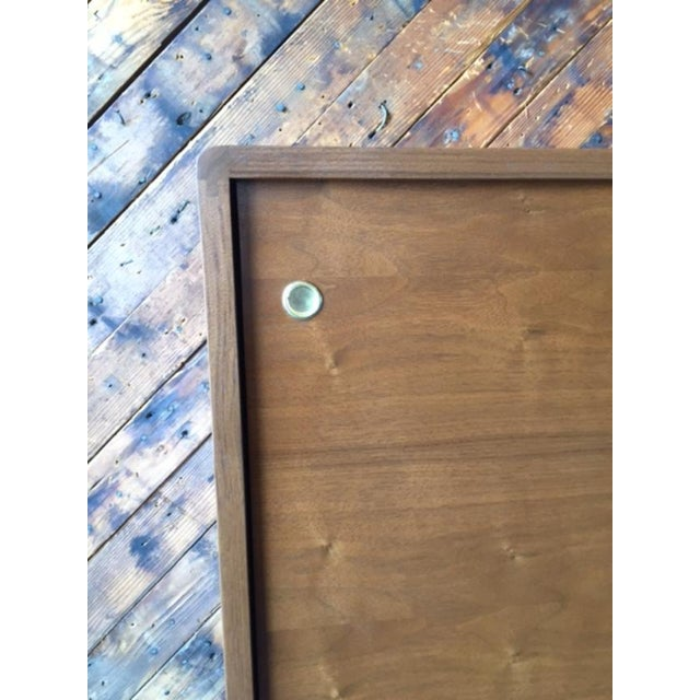 Brown Mid Century Style Custom Walnut Sculpted Base Credenza For Sale - Image 8 of 9