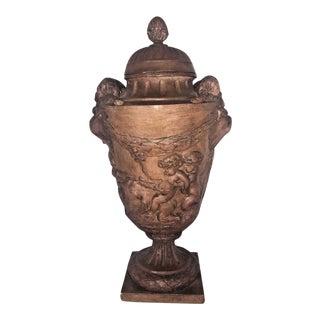 Circa 1910 Antique French Sculpted Terra Cotta Urn
