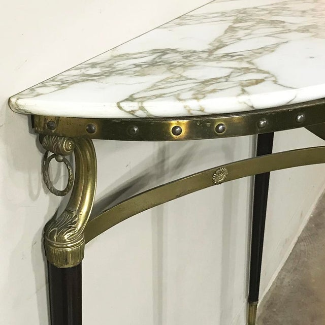Mid-Century Inlaid Marble & Brass Demilune Console For Sale - Image 11 of 12