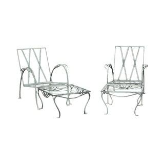Salterini Vintage Wrought Iron Pair Patio Garden Lounge Chairs W/ Ottomans For Sale