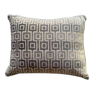 Contemporary Kravet Geometric Sea Foam Green Decorative Small Pillow For Sale