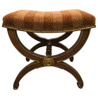 English Fruitwood and Gilt Curule Bench For Sale