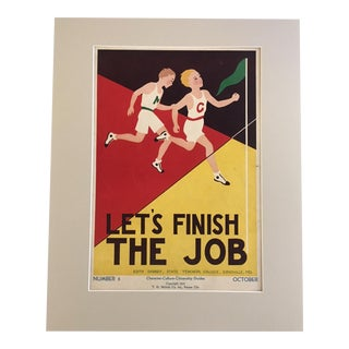 """Vintage 1930's """"Let's Finish the Job"""" Classroom Poster For Sale"""