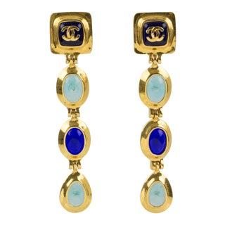 Chanel Dangle Clip Earrings Gripoix Blue Poured Glass Cabochon For Sale