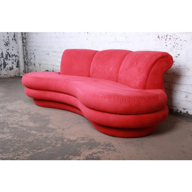 Contemporary Adrian Pearsall Curved Kidney Shape Red Sofa for Comfort Designs For Sale - Image 3 of 8