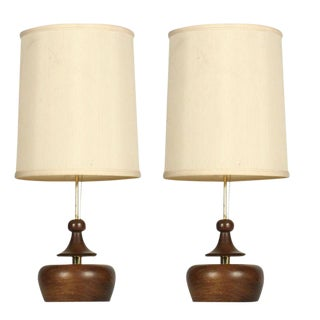 Modeline Turned Wood & Brass Table Lamps - a Pair For Sale