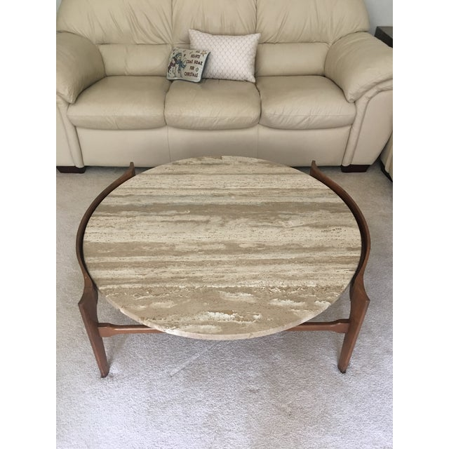 1950s Bertha Schaefer Travertine and Walnut Coffee Table For Sale - Image 5 of 5