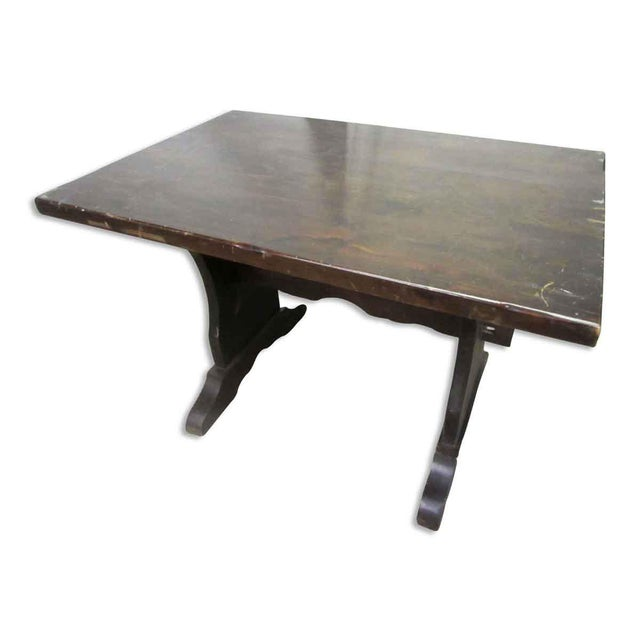 Wood Dark Wood Trestle Table For Sale - Image 7 of 10