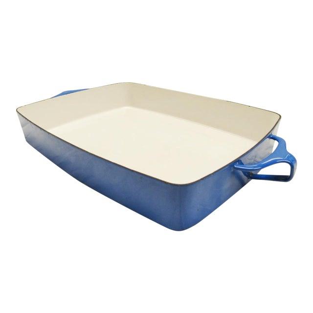 1970s Dansk Kobenstyle Blue Enamel Lasagna Baking Casserole Dish For Sale