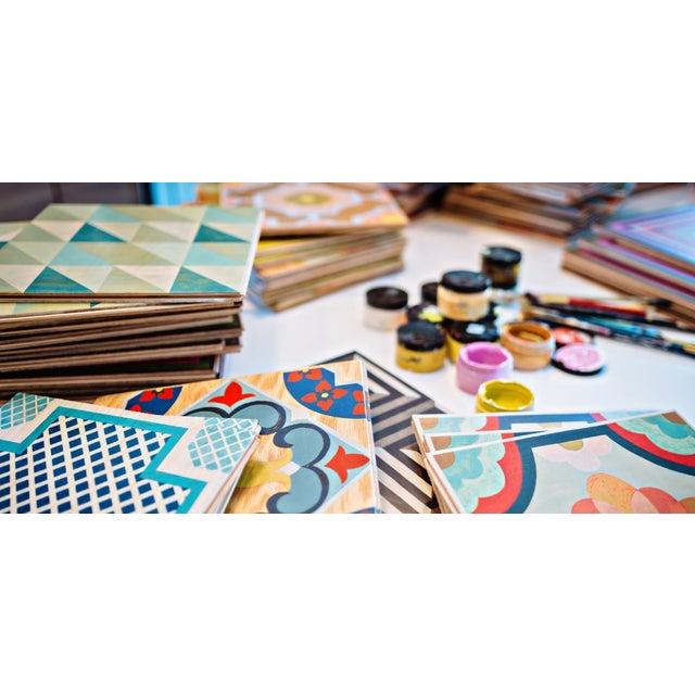 Celerie Kemble Gingko Ink Hardwood Tile - Sample Tile For Sale In Charleston - Image 6 of 6