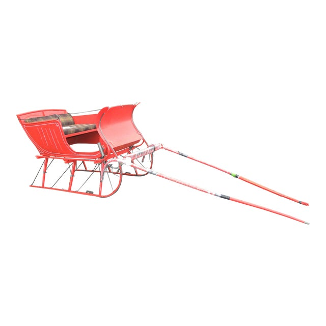 Interior Design Antique Holiday Sleigh Red Sled - Image 1 of 10